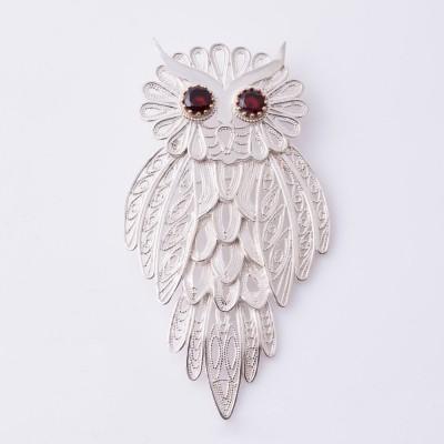 Filigreed Owl Brooch