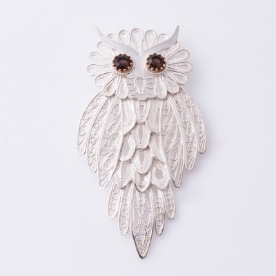 Filigreed Owl Brooch